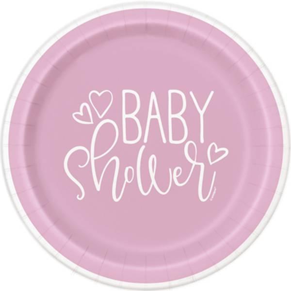 Bilde av Pink Hearts, Baby Shower Asjetter, 8stk