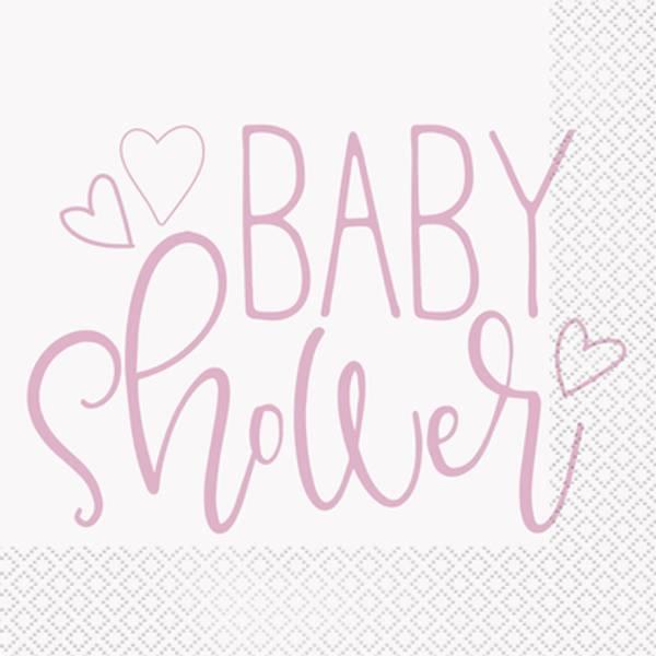 Bilde av Pink Hearts, Baby Shower, Servietter, 16stk