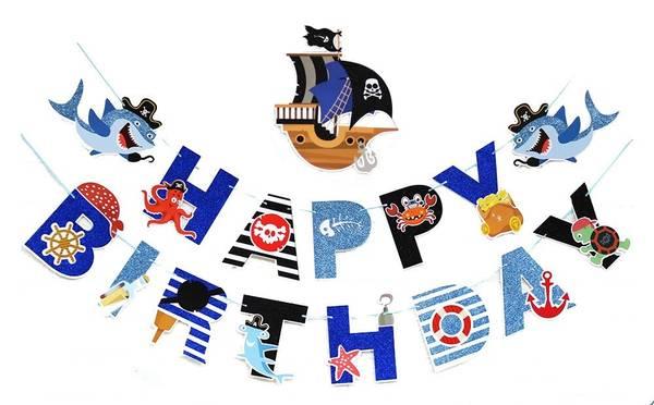 Bilde av Pirat Ship Happy Birthday Banner