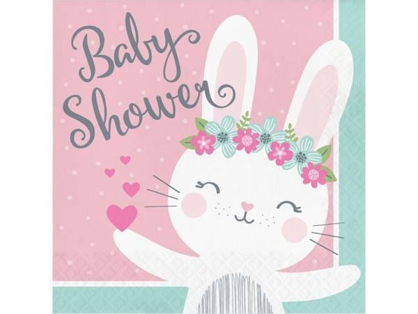 Bilde av Kanin, Servietter Baby shower, 16 stk
