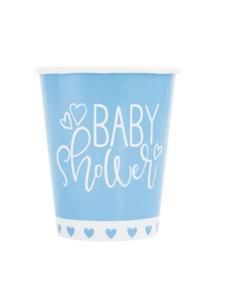 Bilde av Blue Hearts Baby Shower, Kopper, 8 stk