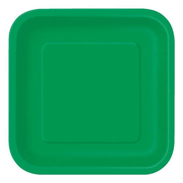 Bilde av Grønn Firkantet Asjett, 16 stk