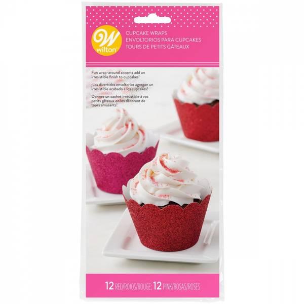 Bilde av Cupcake Wrappers, Glitter, Rød og Rosa, 24 stk