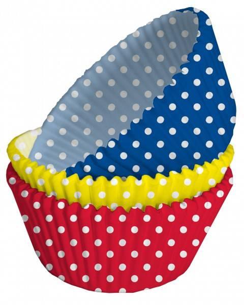 Bilde av Blå, Gul & Rød Muffinsformer m/Prikker