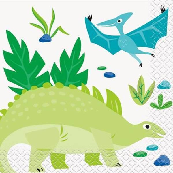 Bilde av Blå og Grønn Dinosaur Cafe serviett, 16 stk