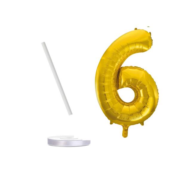 Bilde av Gullfargede Tallballonger med bånd, 41 cm