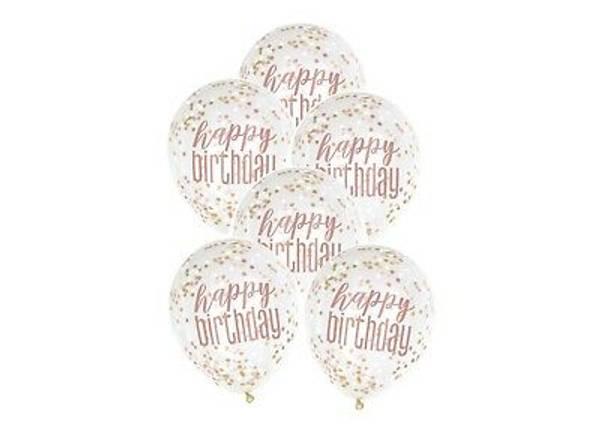 Bilde av Konfettiballong, Happy Birthday Rosa, 6stk