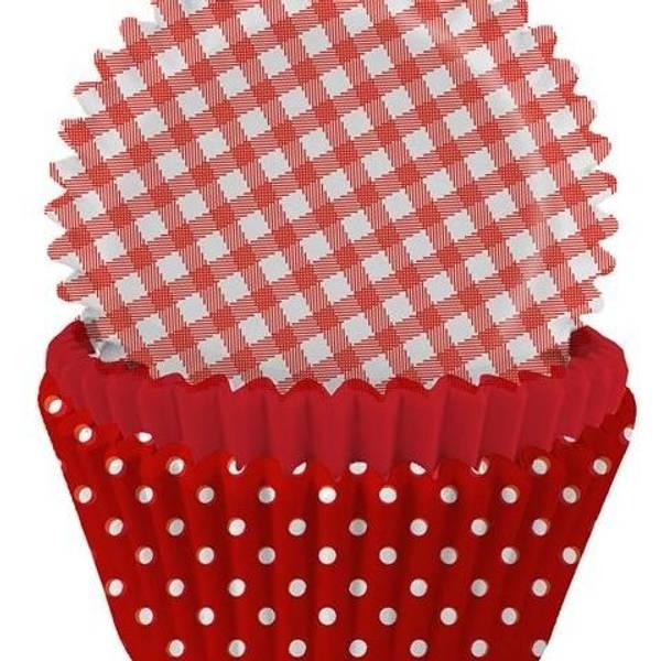 Bilde av Muffinsformer 75 stk, Rød mønstrert