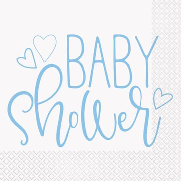 Bilde av Blue Hearts, Baby Shower,servietter, 16 stk