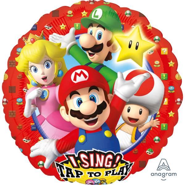 Bilde av Super Mario, Folieballong med musikk, 71 cm
