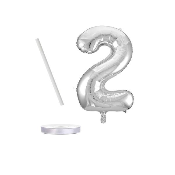 Bilde av Sølvfargede Tallballonger med bånd, 41 cm