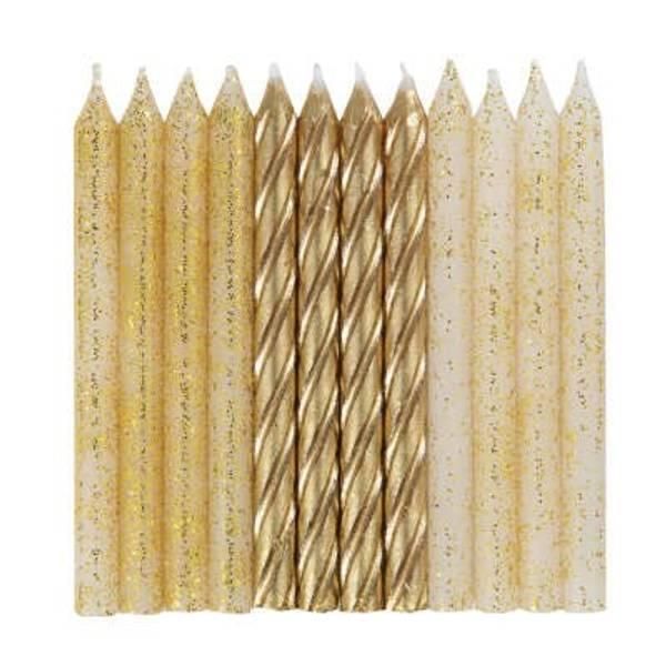 Bilde av Kakelys, Gull glitter, 24 stk