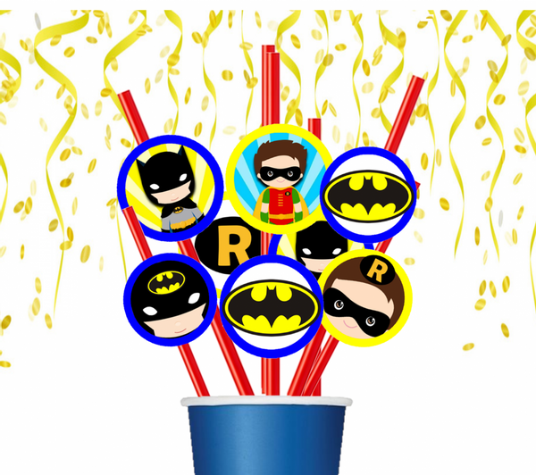 Bilde av Batmann og Robin, Sugerør, 8 stk