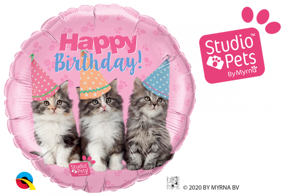 Bilde av Katteparty Happy Birthday Folieballong, 46 cm