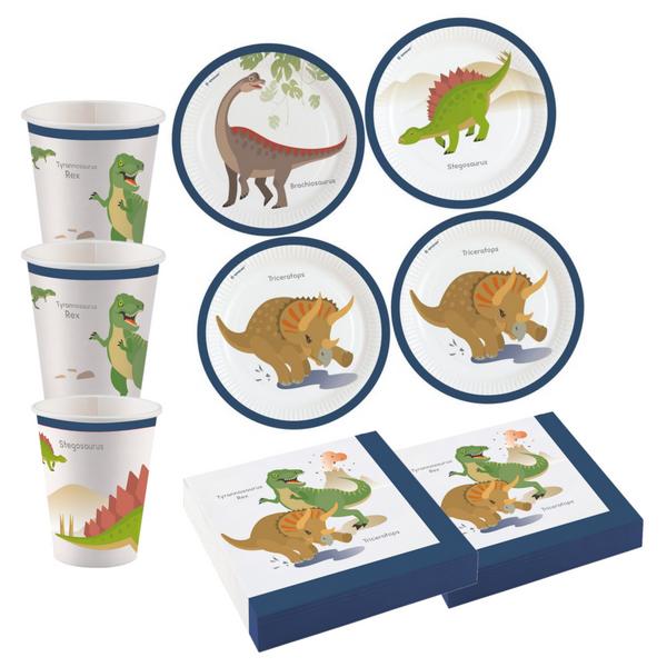 Bilde av Dinosaur,  Basis Bursdagspakke, Hvit, 8 personer