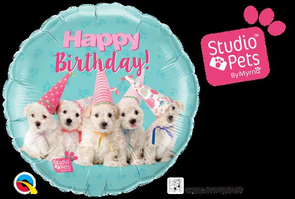 Bilde av Hundefest Happy Birthday Folieballong, 46 cm