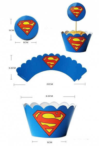 Bilde av Superman Cupcakewrappers, 12 stk