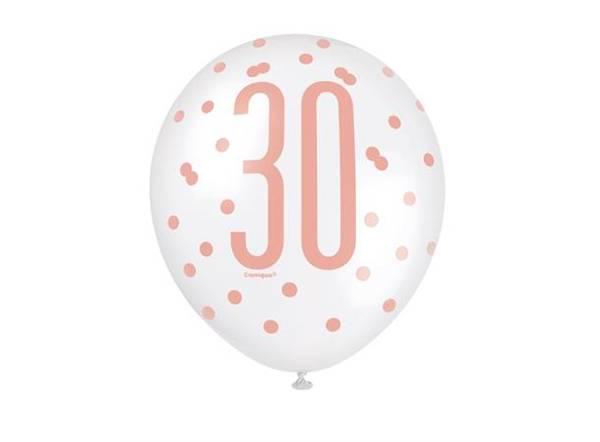 Bilde av Rosegull 30 År Ballonger, 6 stk