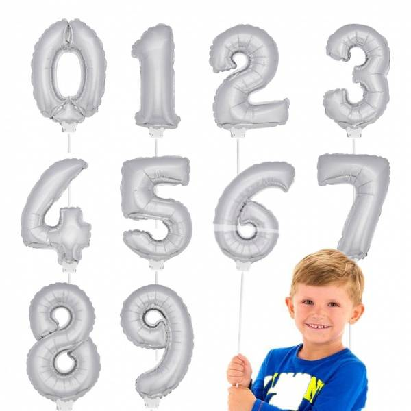 Bilde av  Sølv Miniballong med holder, nr 0 -9