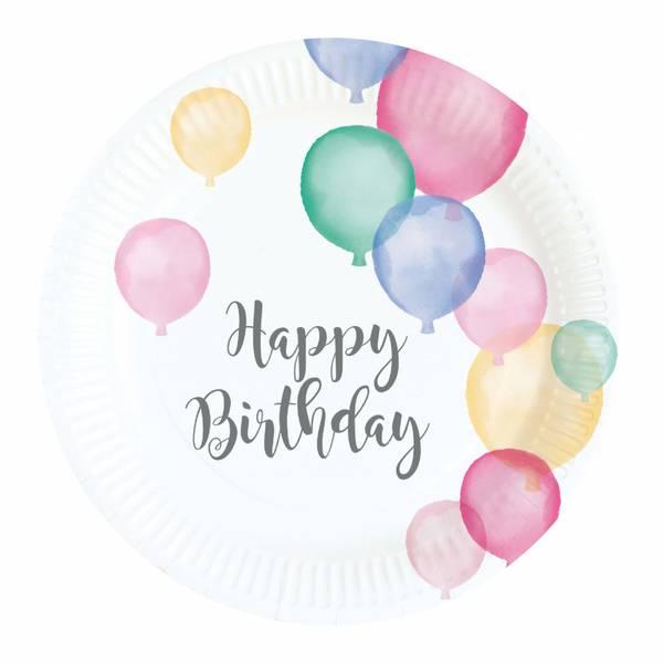Bilde av Pastell, Happy Birthday, Asjetter, 8stk