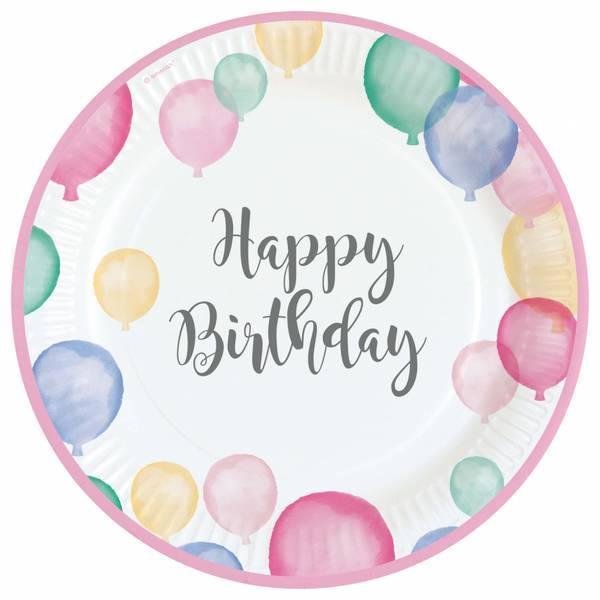 Bilde av Pastell, Happy Birthday, Tallerker, 8stk