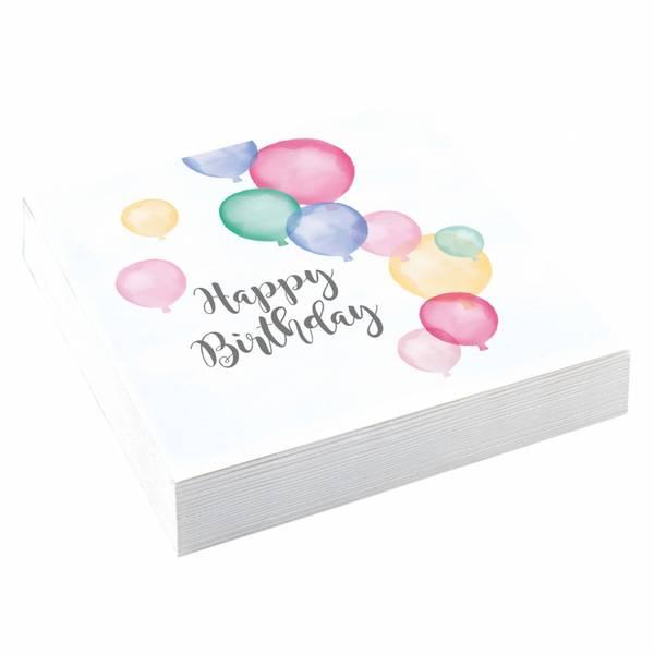 Bilde av Pastell, Happy Birthday, Servietter, 20stk