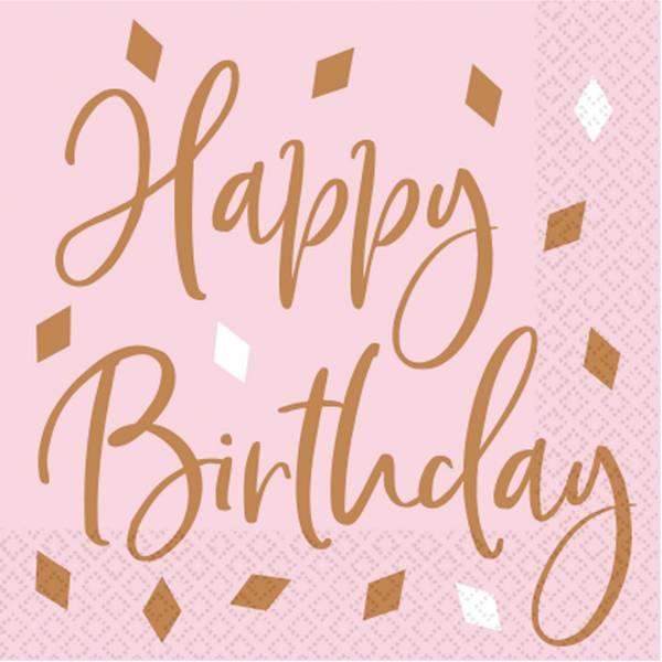 Bilde av Rosa Happy Birthday Servietter