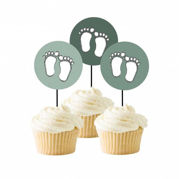 Bilde av Green Baby, Cupcaketoppers, 8 stk