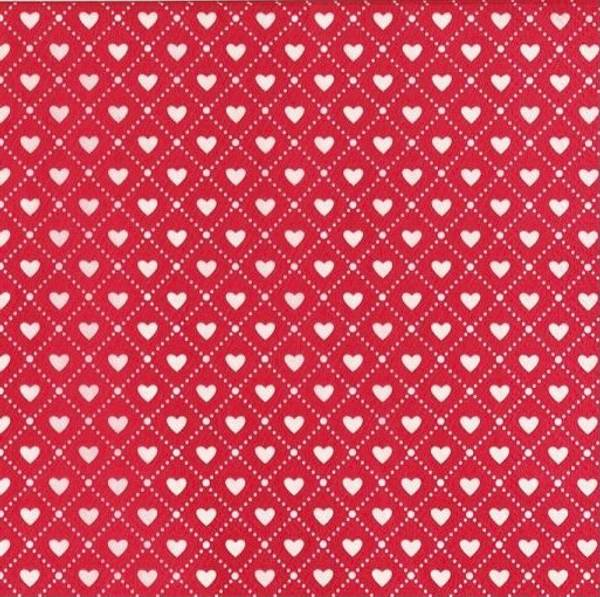 Bilde av Røde Juleservietter med Hjerter, 20 stk