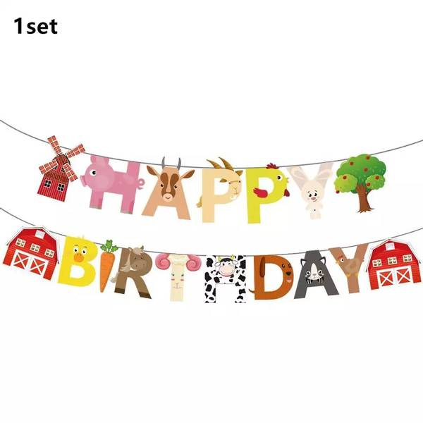 Bilde av Bondegård, Happy Birthday banner