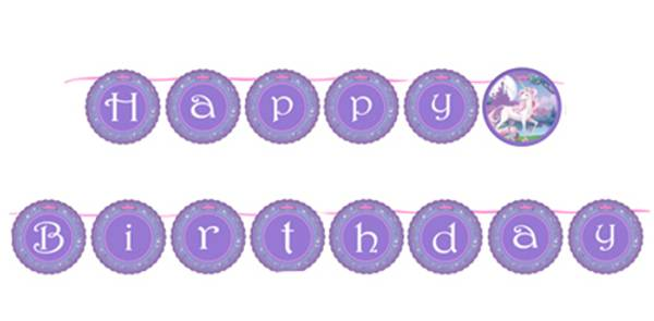 Bilde av Unicorn Fantasy, Happy Birthday, Banner
