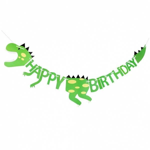 Bilde av Dinosaur, Happy Birthday Banner