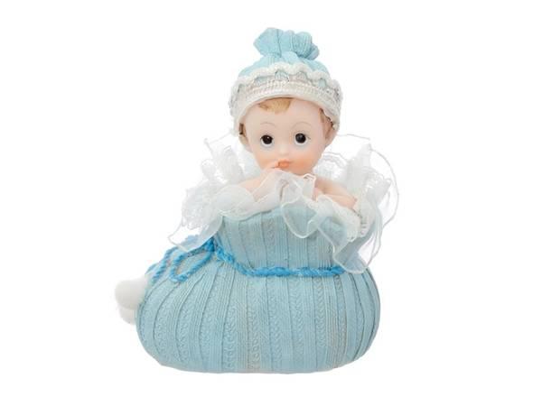Bilde av Baby i sko, Porselensfigur, Blå