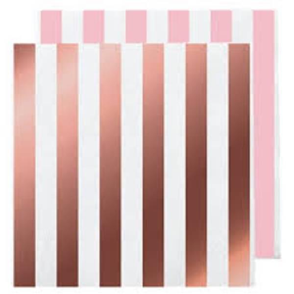Bilde av Rosa og Rosegull Stripet Servietter