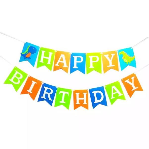 Bilde av Dino, Fargerik Happy Birthday banner 2