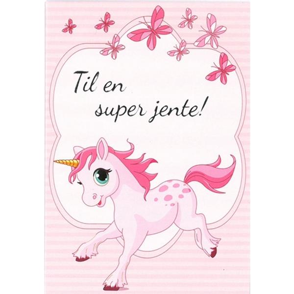 Bilde av Mini Kort, Enhjørning, Til En Super Jente!