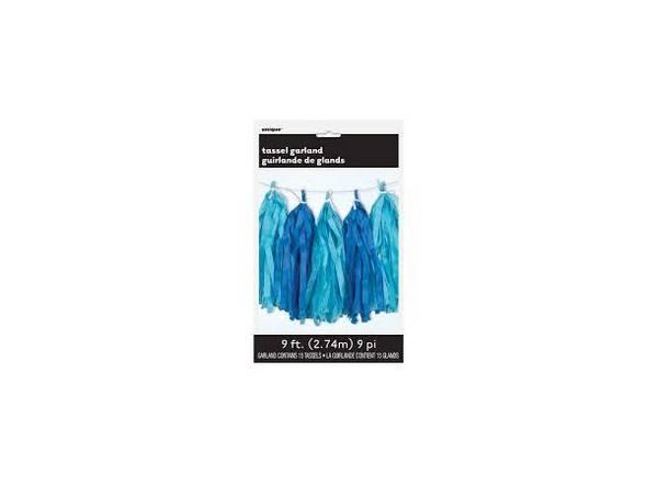 Bilde av Papirgirlander m/dusker, Blå Farger