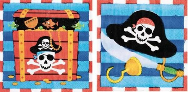 Bilde av Blå Pirat Party Servietter, 16 stk