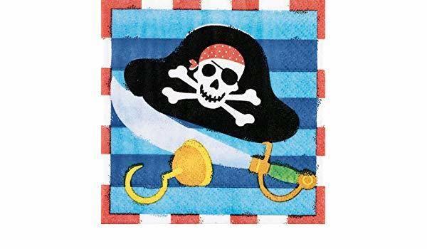 Bilde av Blå Pirat Party Cafe Servietter, 16 stk