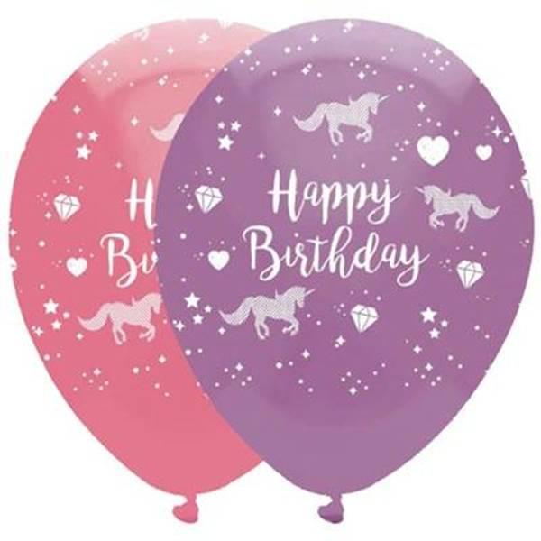 Bilde av Enhjørning Happy Birthday  Ballonger, 6 stk