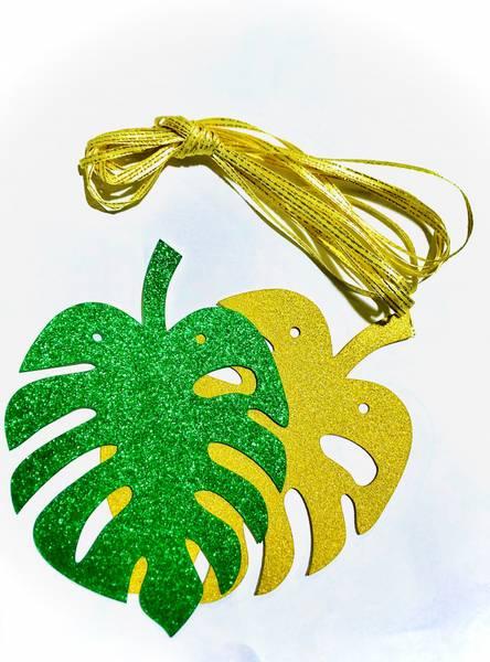 Bilde av Hengende Dino Glitterblad, Gull og Grønn