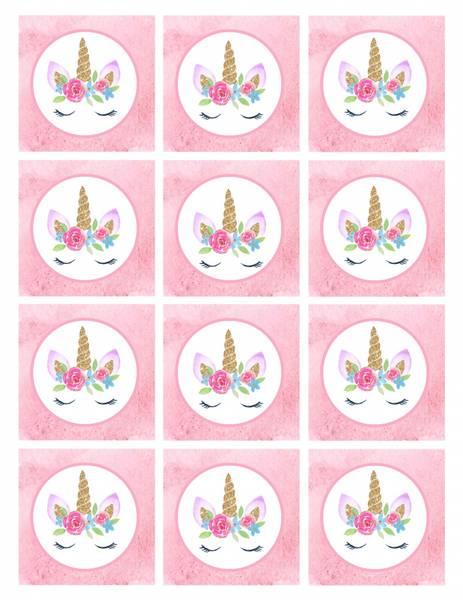 Bilde av Enhjørning m/blomst, Muffinsbilder, 12 stk