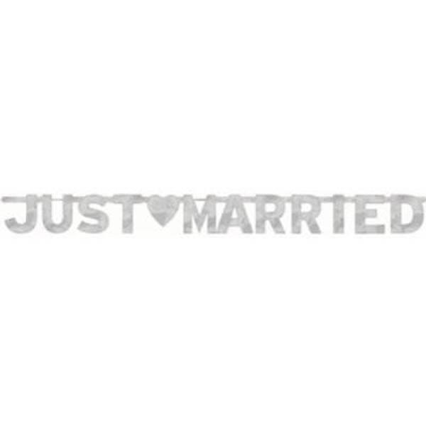 Bilde av Just married banner sølv