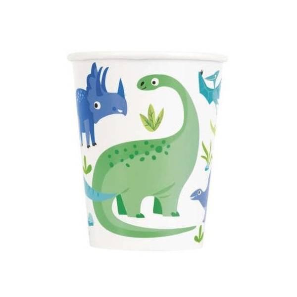 Bilde av Blå og Grønn Dinosaur Kopper, 8 stk