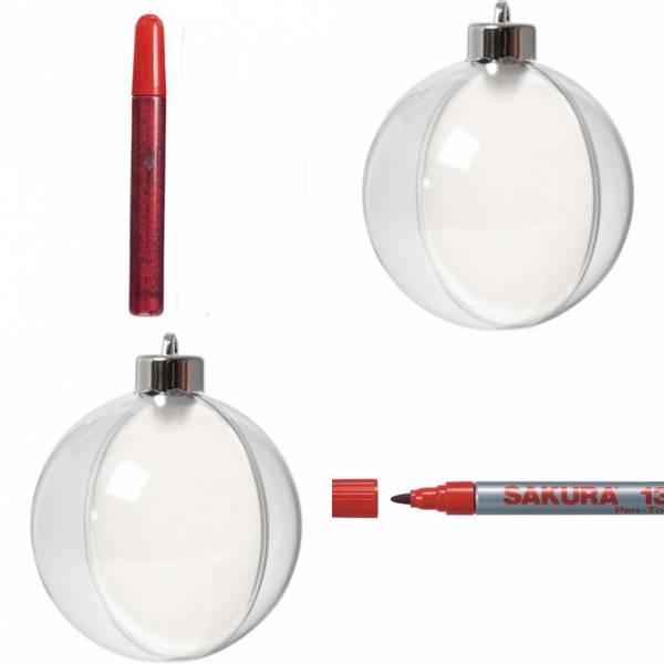 Bilde av Deco, Kule,  8 cm, + rød markeringstusj og glitter lim, 2stk
