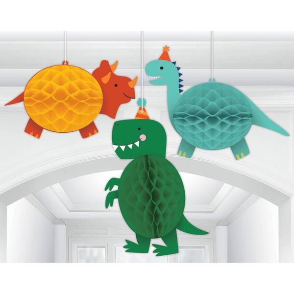 Bilde av Dino-Mite, Honeycomb Hengende Dekorasjoner, 3 stk