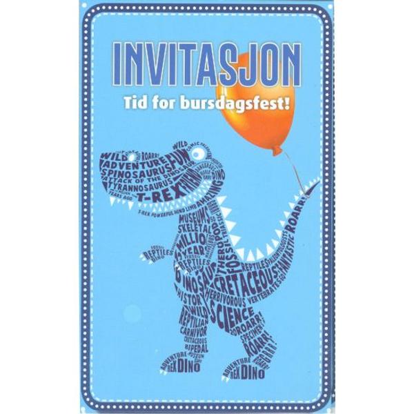 Bilde av Innbydelses kort, T-Rex, 8 stk
