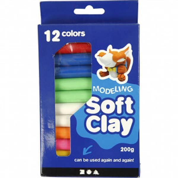Bilde av Soft Clay Modellervoks , ass. Farger, 200g