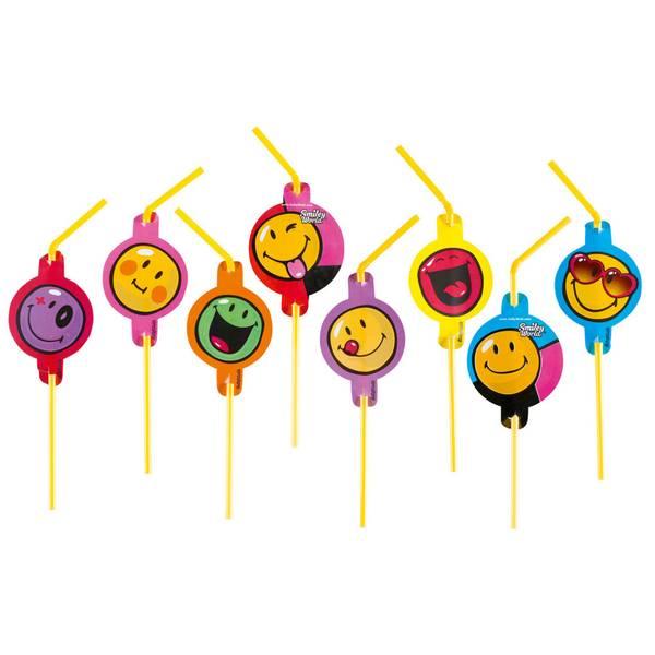 Bilde av Emoji Smiley Sugerør 2, 8 stk