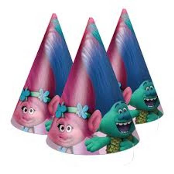 Bilde av Trolls Party Hatter 6 stk